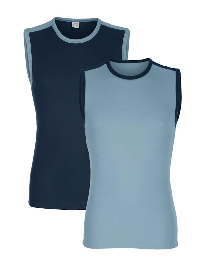 Mouwloze shirts 2 stuks, 1 x marine, 1 x blauw