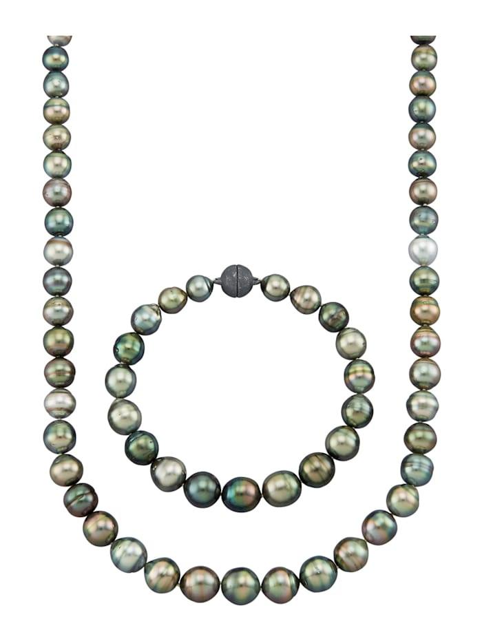Parure de bijoux 2 pièces avec perles de culture de Tahiti, Multicolore