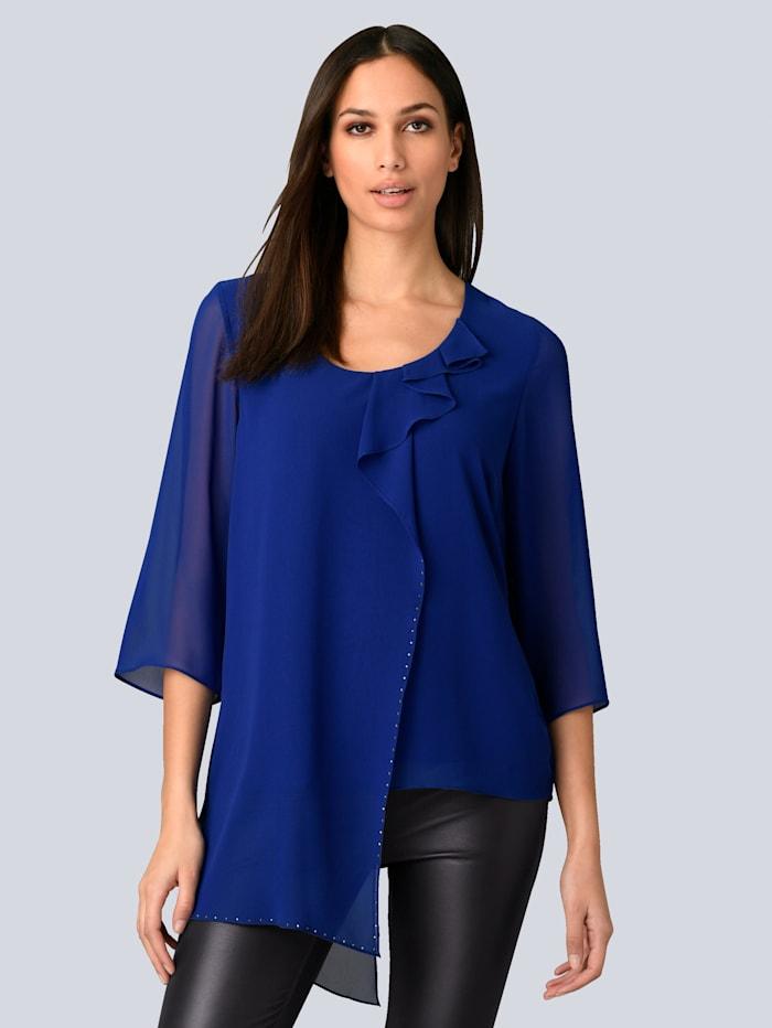 Alba Moda Bluse mit Rüschen und Strass, Royalblau