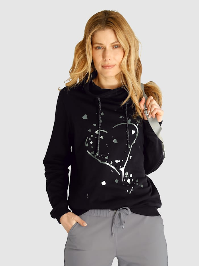 Laura Kent Sweatshirt met folieprint, Zwart