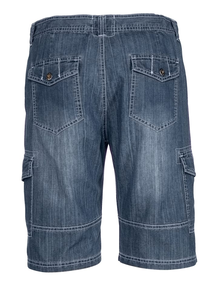 Jeansbermuda met cargozakken