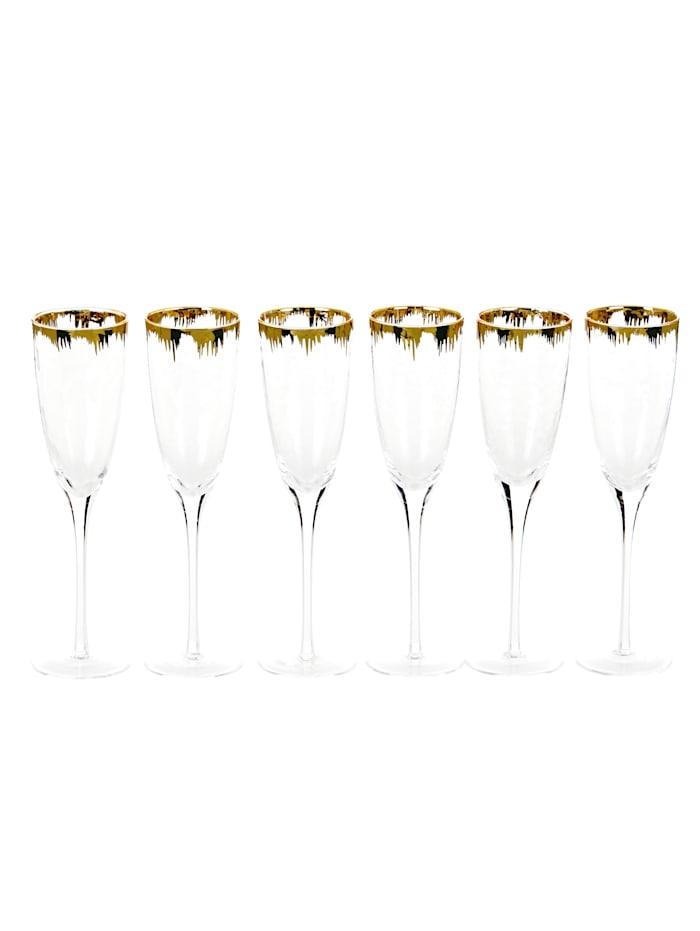 IMPRESSIONEN living Glas-Set, 6-tlg., klar/goldfarben, Sektglas-Set