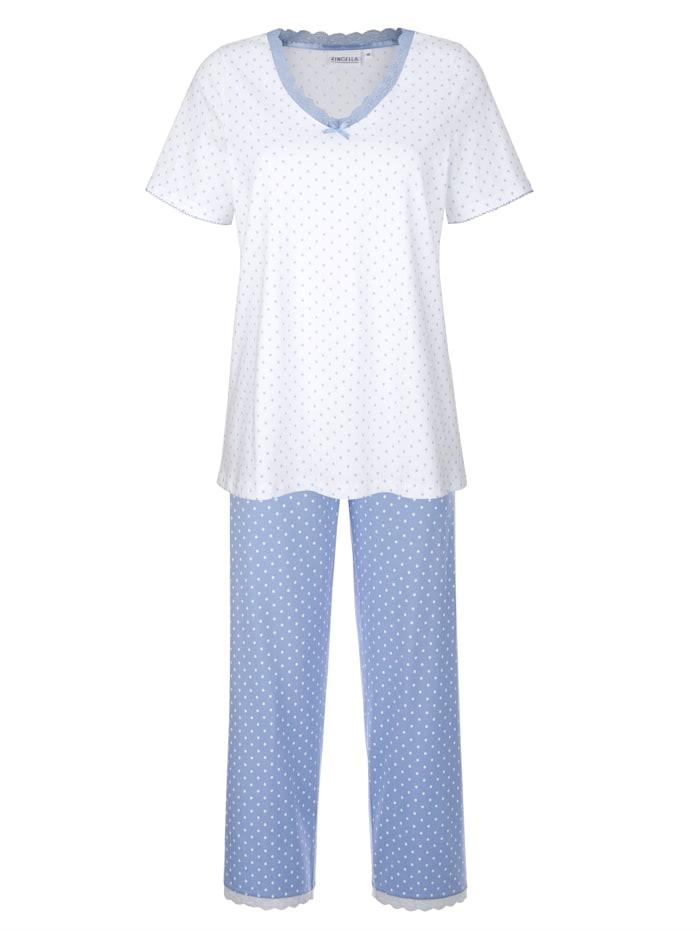 Ringella Schlafanzug mit hübschen Spitzendetails, Weiß/Hellblau