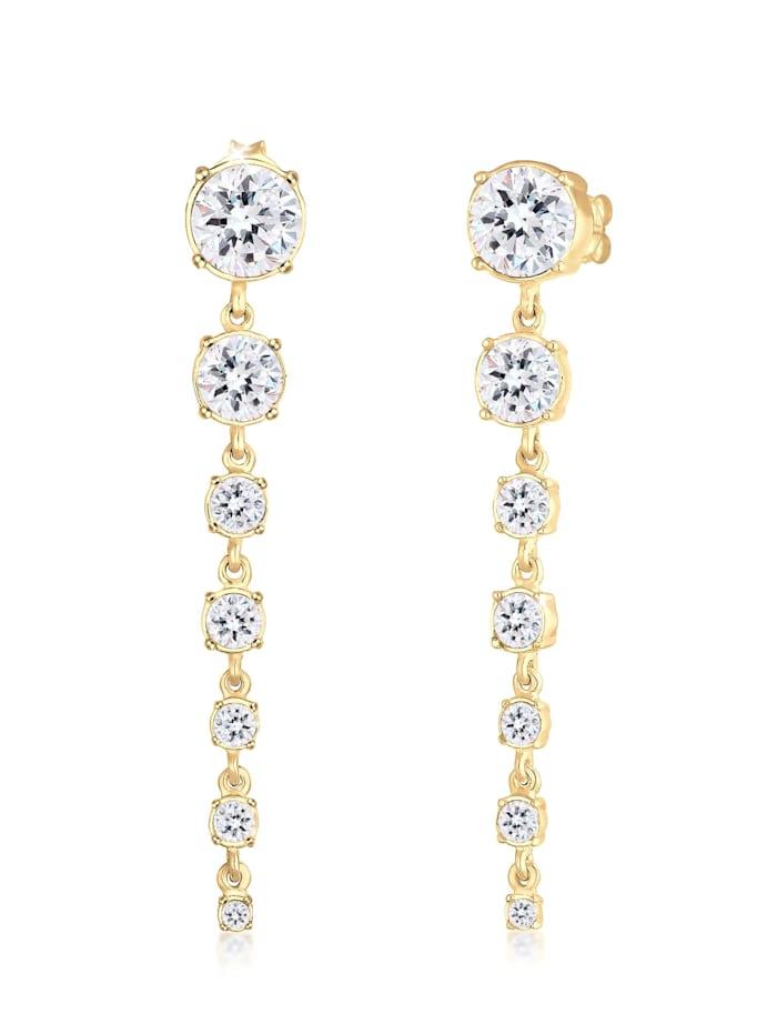 Elli Premium Ohrringe Edel Ohrhänger Swarovski® Kristalle 925 Silber, Weiß
