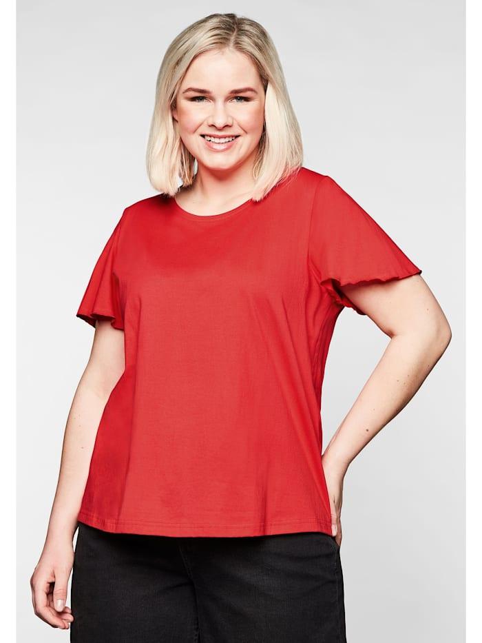 Sheego T-Shirt mit Flügelärmeln, in leichter A-Linie, feuerrot