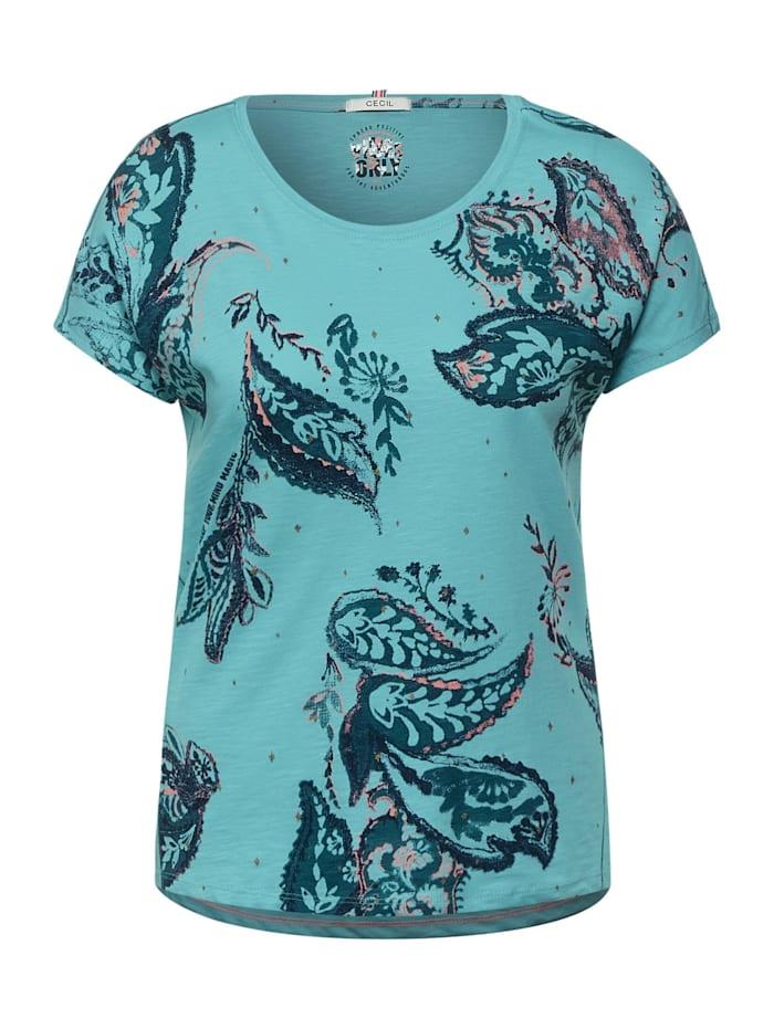 Cecil T-Shirt mit Print, light eucalyptus green