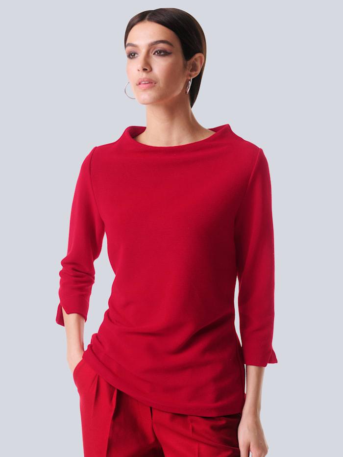 Alba Moda Shirt in feiner Rippenstruktur, Rot