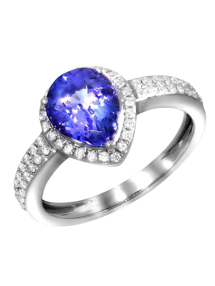Creazione Bijoux Ring 750/- Gold Tansanit blau Tansanit Glänzend 1,70ct. 750/- Gold, weiß