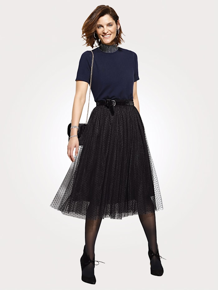 Tulle skirt with flock print