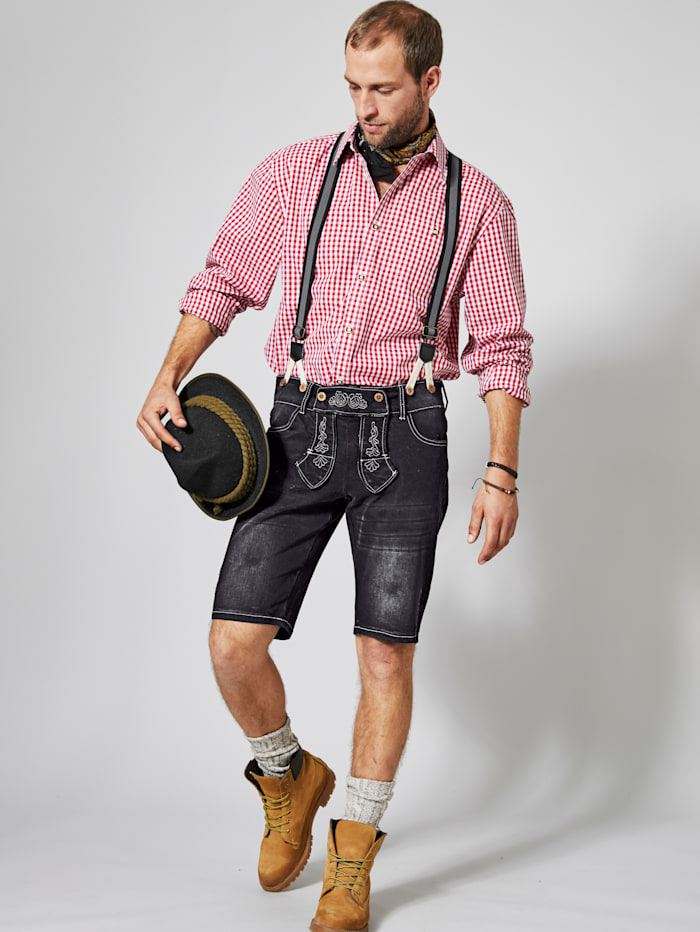 Jeansbermuda im Trachten-Look inkl. Hosenträger