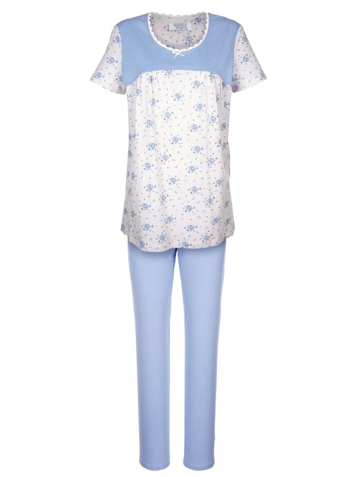 Ringella Schlafanzug im süßem Muster-Mix, bleu/ecru/taupe