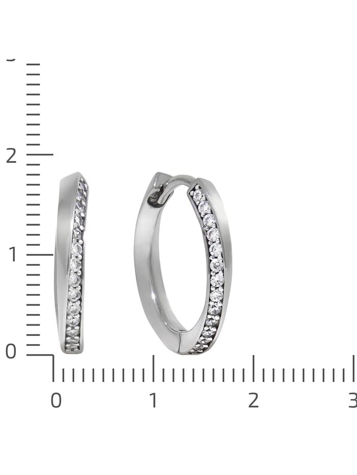 Creolen 925/- Sterling Silber Zirkonia weiß 1,8cm glänzend