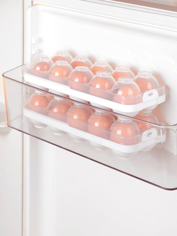 4tlg. Eier-Safe, 2 Boxen mit Deckel, für je 10 Eier Gr. S - L, stapelbar
