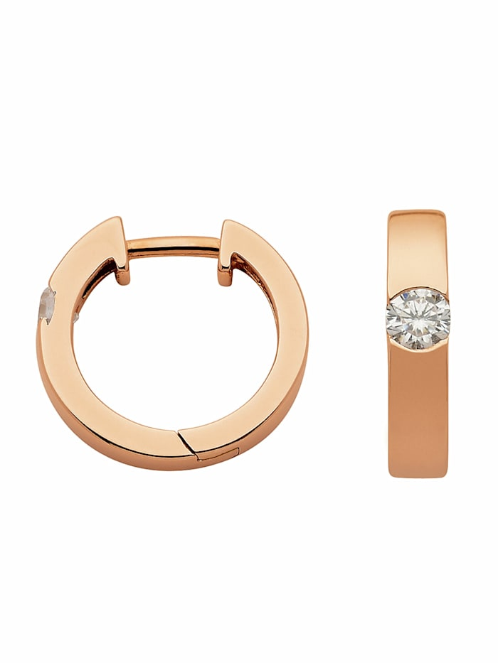 1001 Diamonds 1001 Diamonds Damen Silberschmuck 925 Silber Ohrringe / Creolen mit Zirkonia Ø 15,5 mm, rose