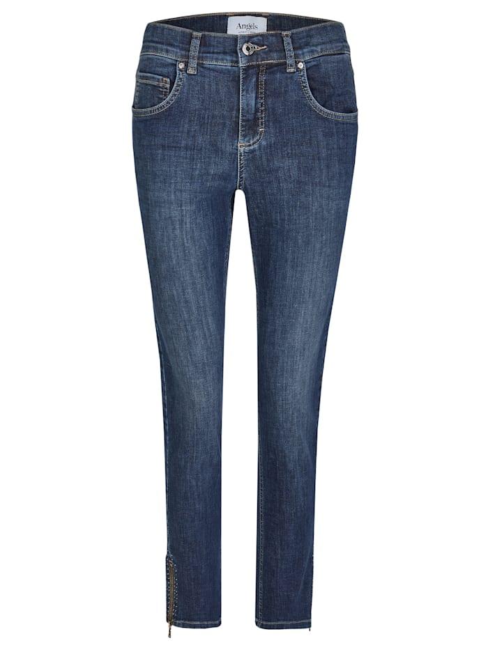 Angels Jeans ,Skinny Ankle Zip Shine' mit modischen Details, blue used