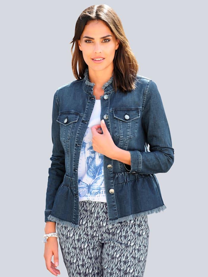 Alba Moda Jeansjacke mit Fransen-Kanten Verarbeitung, Blau