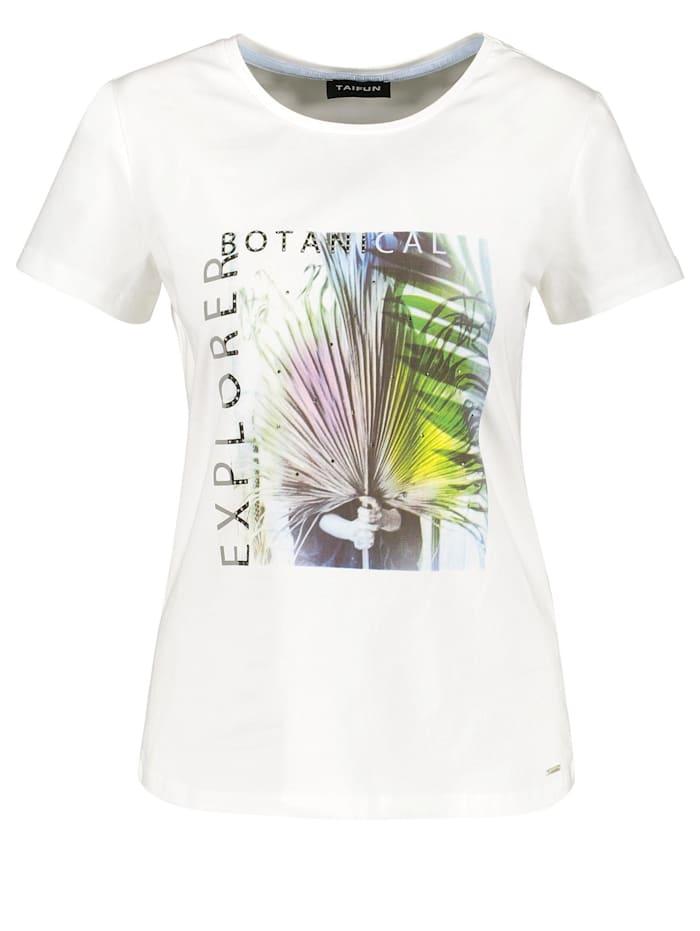 Taifun T-Shirt mit Front-Print, Offwhite gemustert