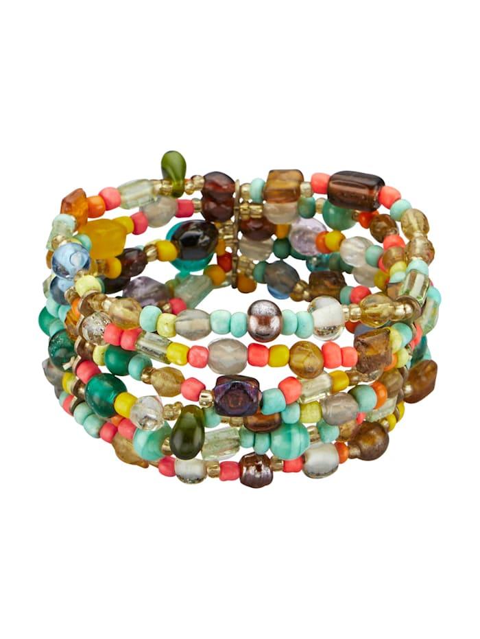 Armband met glasparels, Multicolor