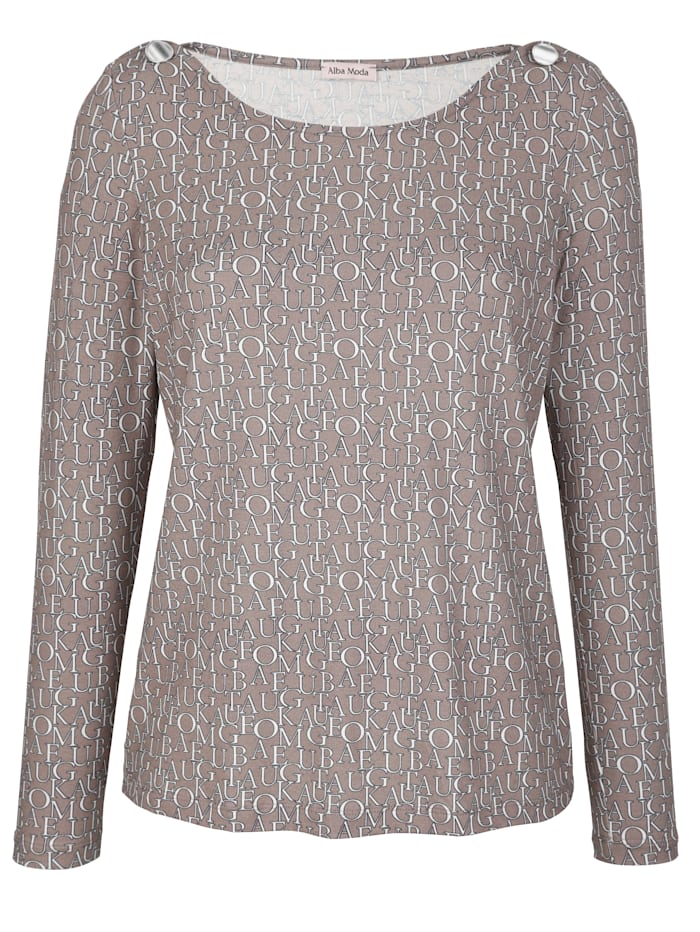 Alba Moda Shirt mit Buchstabenprint allover, taupe-offwhite