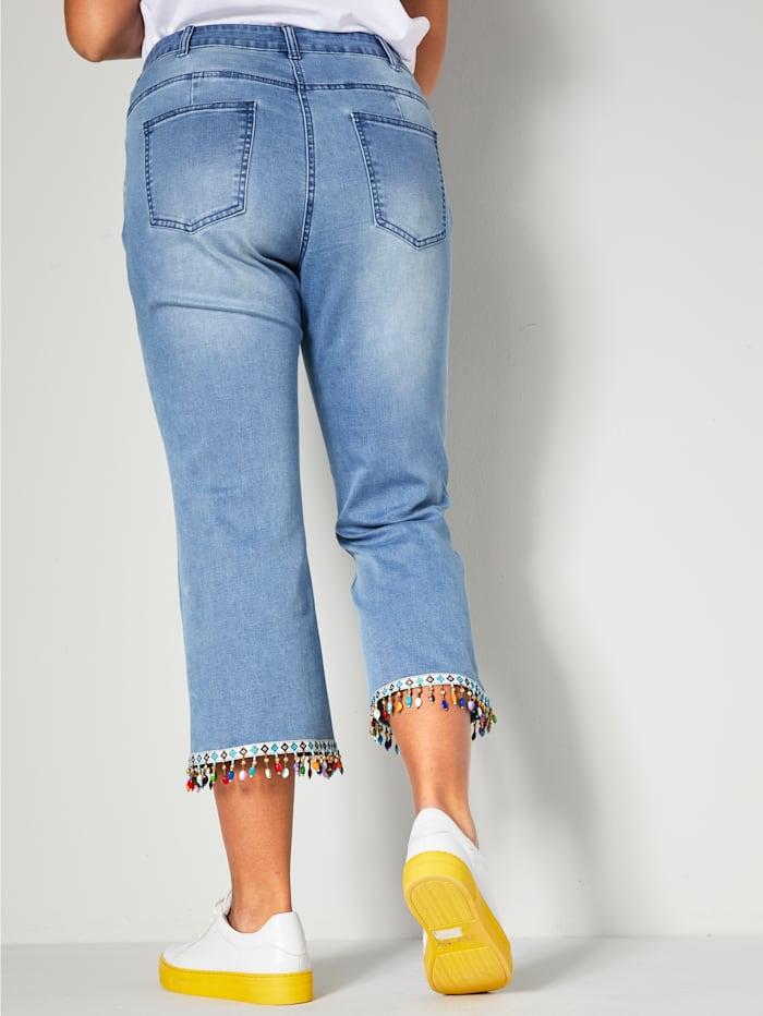 7/8-jeans med färgstarka pärlor nedtill