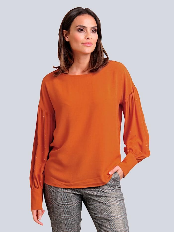 Alba Moda Bluse mit effektvollen Strass-Applikationen, Orange