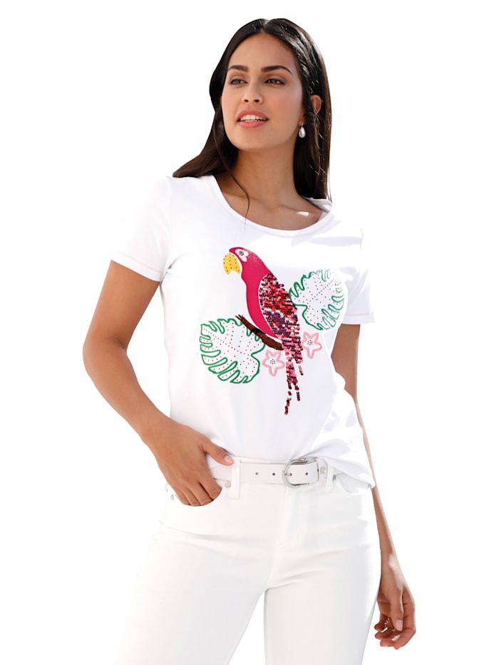AMY VERMONT Shirt mit Papagei-Motiv im Vorderteil, Weiß/Pink