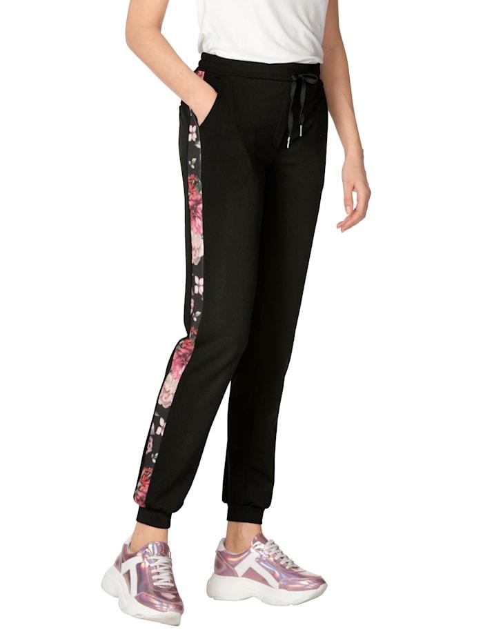 AMY VERMONT Nohavice s galonovými pásmi, Čierna