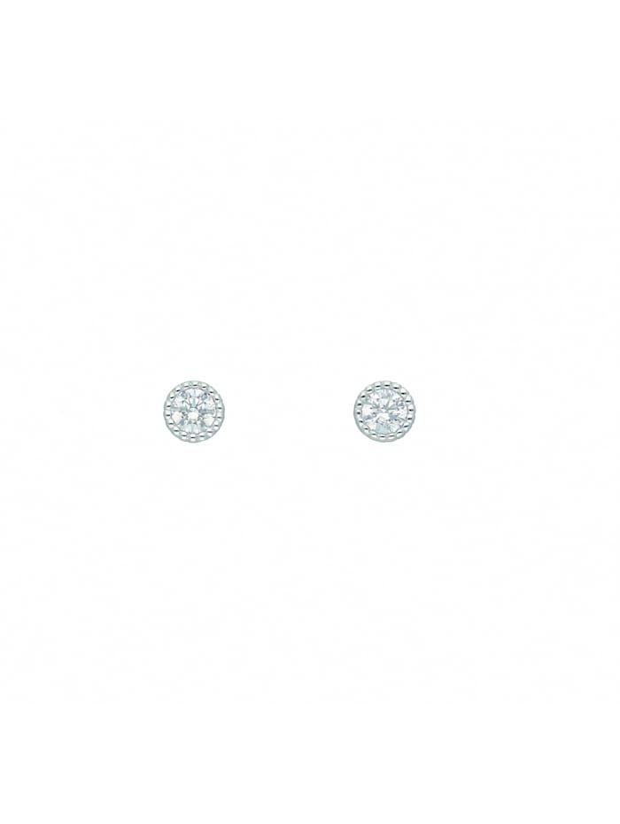 1001 Diamonds Damen Goldschmuck 585 Weißgold Ohrringe / Ohrstecker mit Zirkonia Ø 4,3 mm, silber