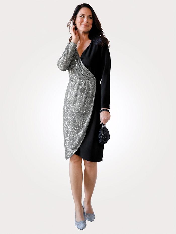 MONA Robe de style cache-coeur, Noir/Coloris argent