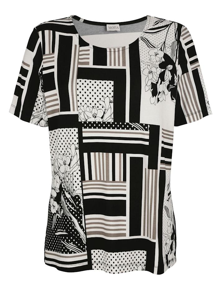 Shirt in floralem und grafischem Druckmix
