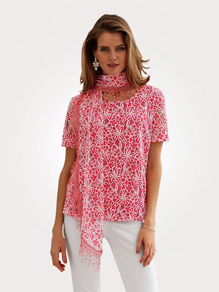 MONA Shirt mit Schal, Pfirsich