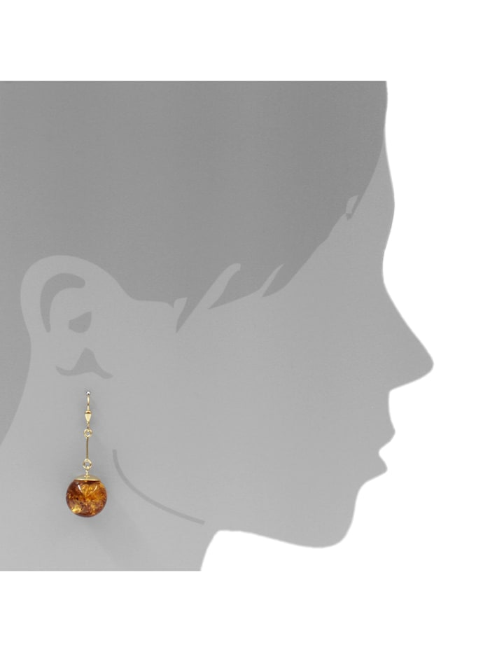 Ohrhänger - Kugel 16 mm - Gold 333/000 - Bernstein