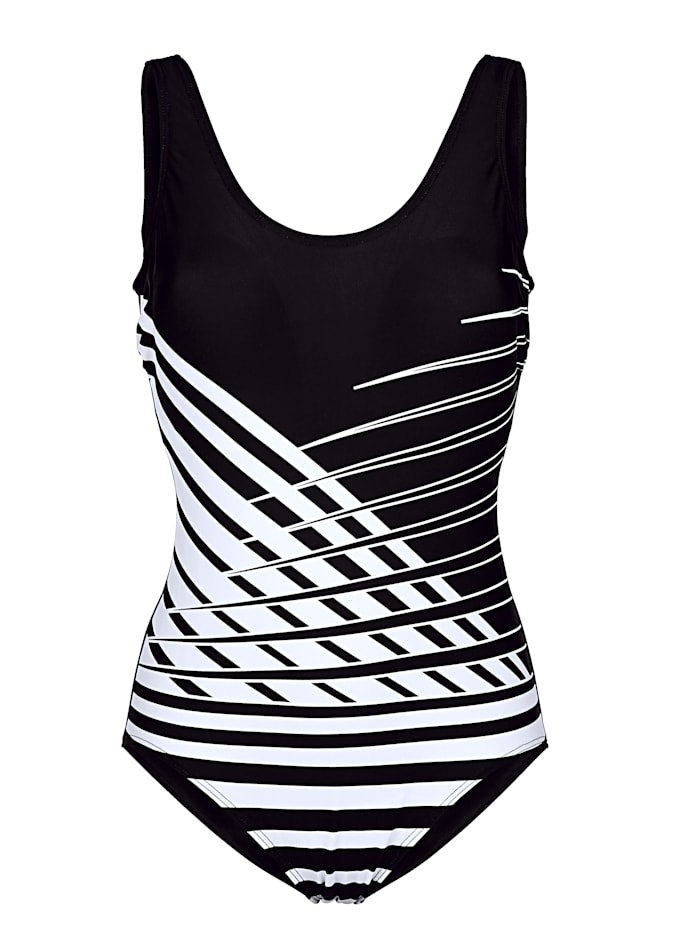 Maritim Swimsuit with bold print, Black/White
