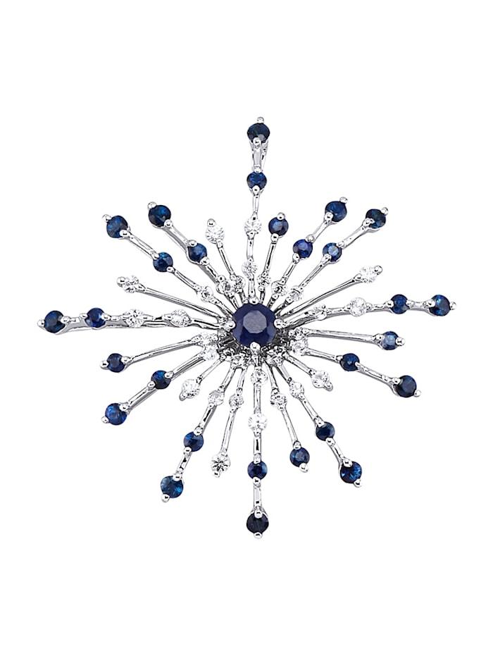 Diemer Farbstein Anhänger mit Saphiren, Blau
