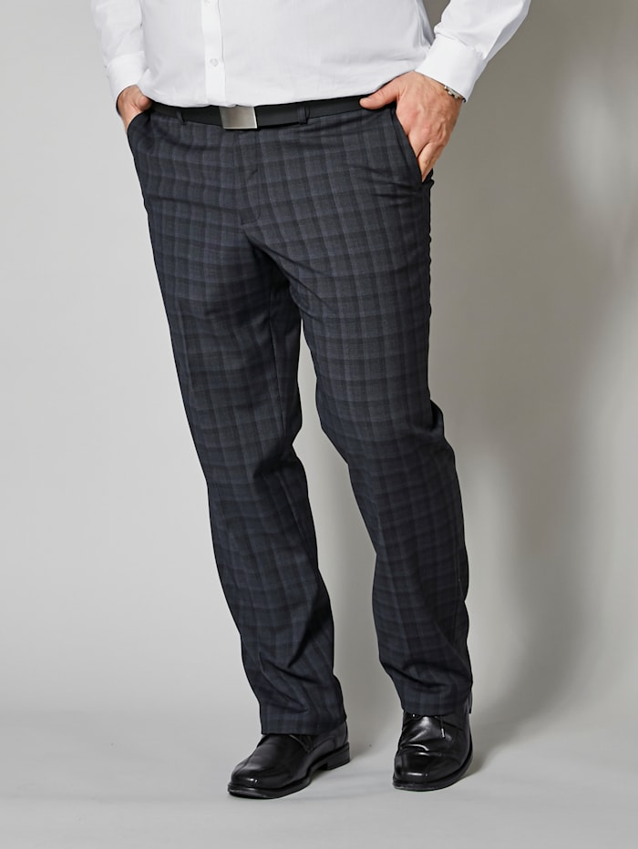 Men Plus Anzugshose mit Bügelfalte, Schwarz/Grau