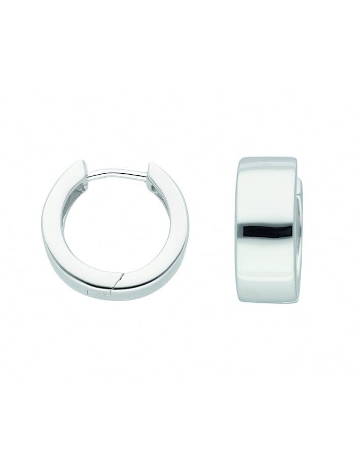 1001 Diamonds Damen Silberschmuck 925 Silber Ohrringe / Creolen Ø 16,5 mm, silber
