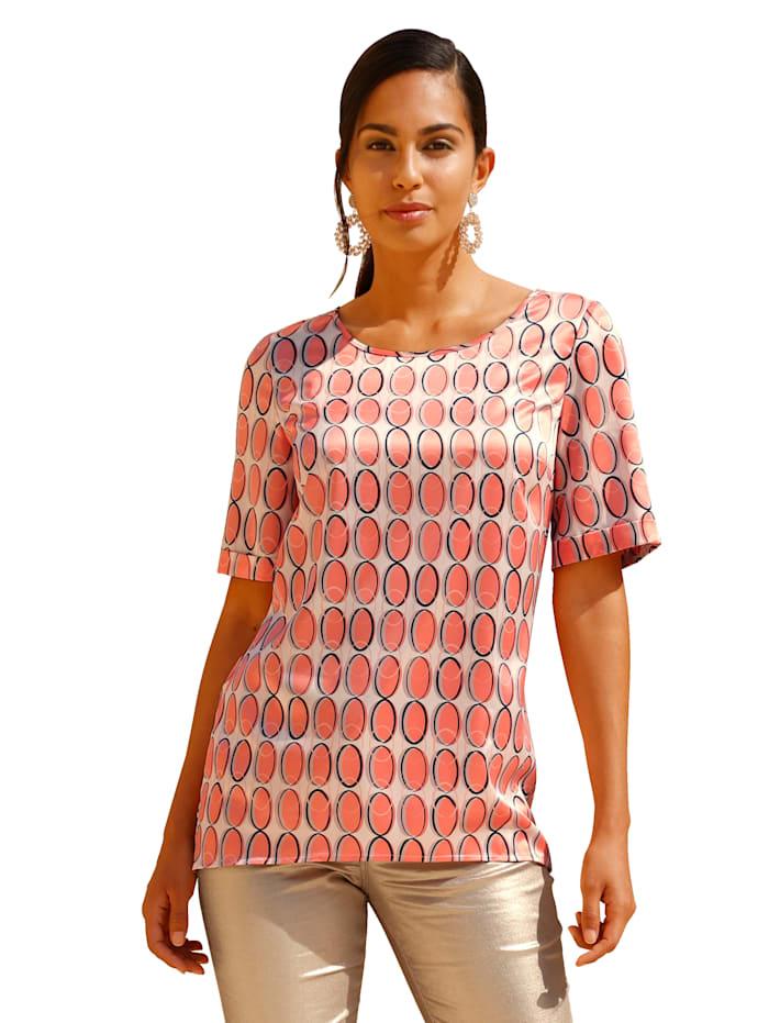 AMY VERMONT Blouse met grafisch patroon, Beige/Oranje