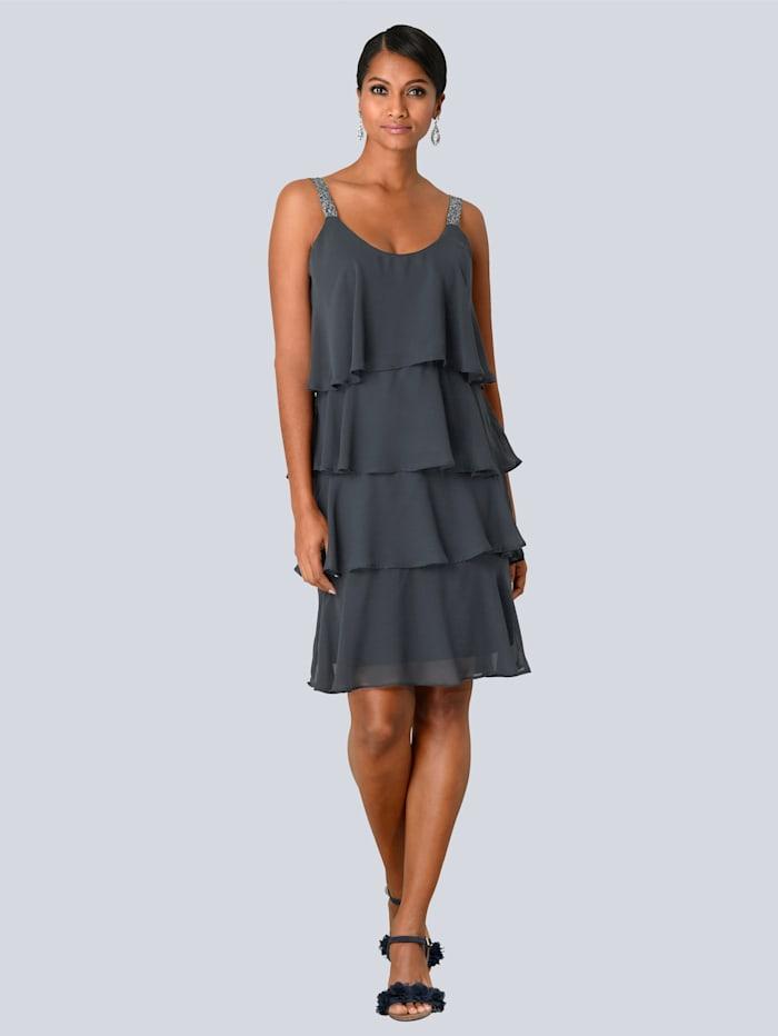 Alba Moda Kleid in mehreren Lagen gearbeitet, Marineblau