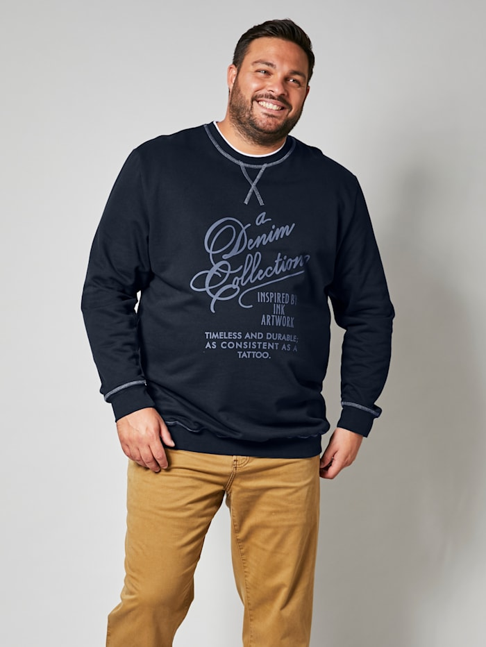 Men Plus Sweatshirt aus reiner Baumwolle, Marineblau