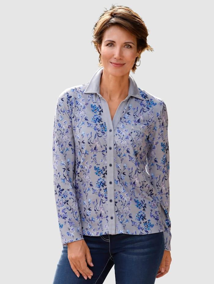 Paola Shirtbluse mit floralem Druck, Hellblau