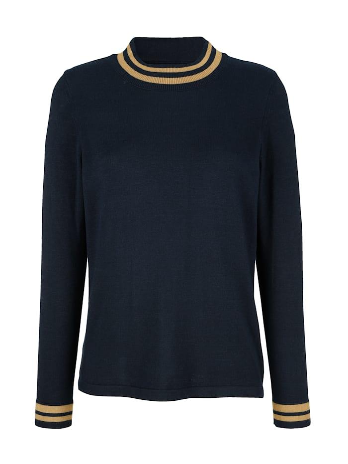 Pullover mit kontrastfarbenen Ringelabschlüssen