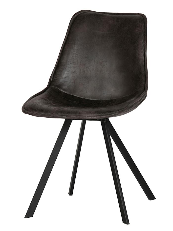 woood Stuhl-Set, 2-tlg., Bezug in Leder-Optik, schwarz
