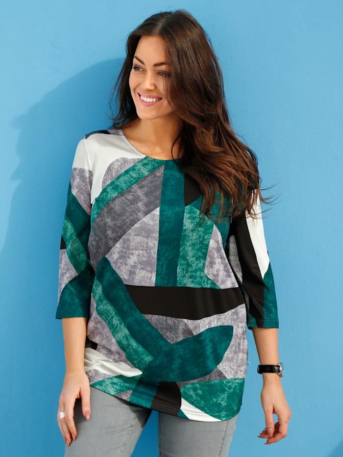 m. collection Shirt mit grafischem Muster rundum, Grün/Grau/Weiß