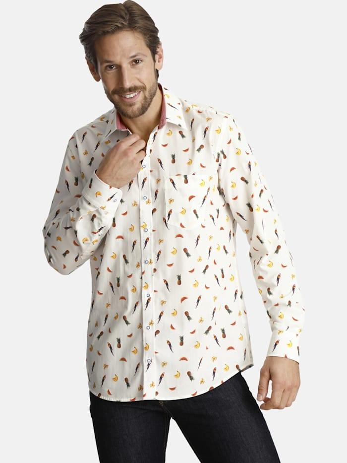 Shirtmaster Shirtmaster Hemd parrotmeetsfruit, weiß
