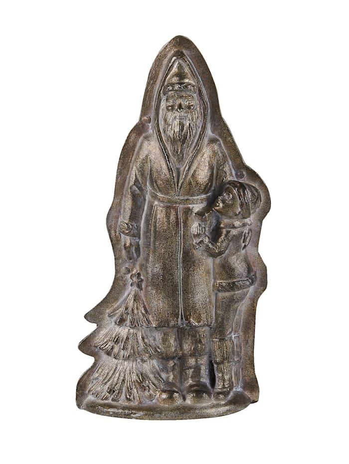 Wittkemper living Figurine Père Noël avec enfant, Coloris argenté