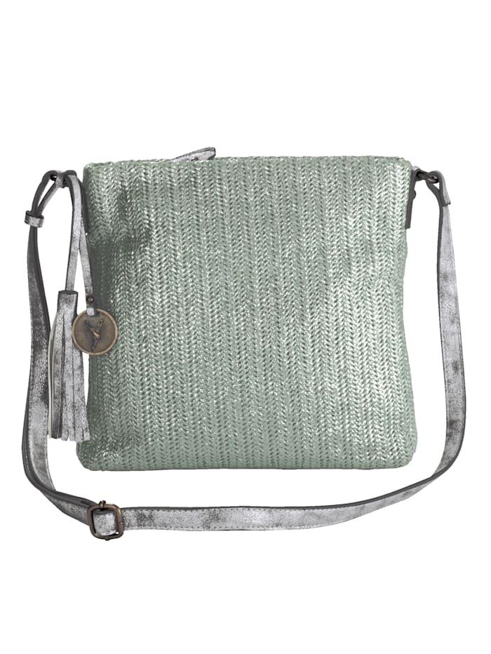Shoulder bag with shimmering soft material