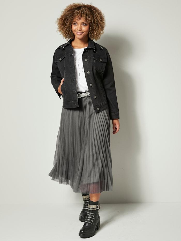 Angel of Style Jeansjacke mit Strasssteinen, Black