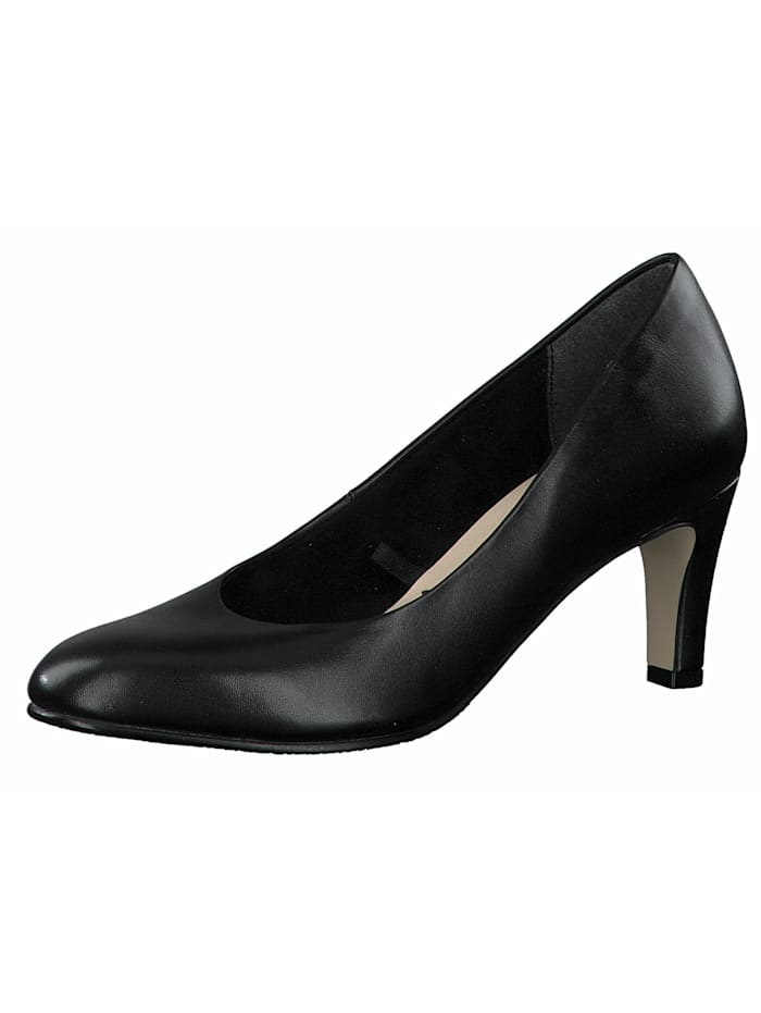 Damen Klassische Pumps  1-22414-25 Schwarz 003 BLACK LEATHER Leder mit TOUCH-IT