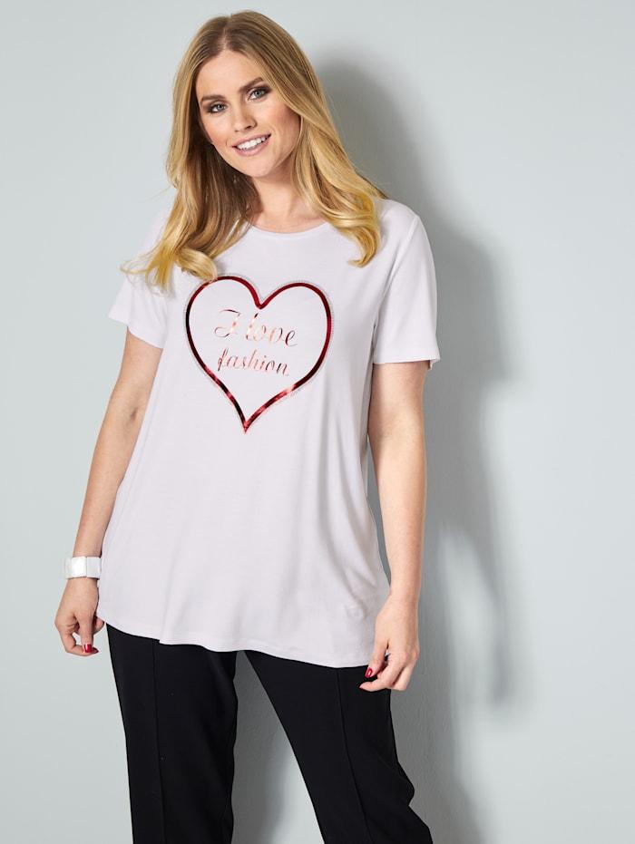 Sara Lindholm Shirt mit Glanzdruck, Weiß/Rot
