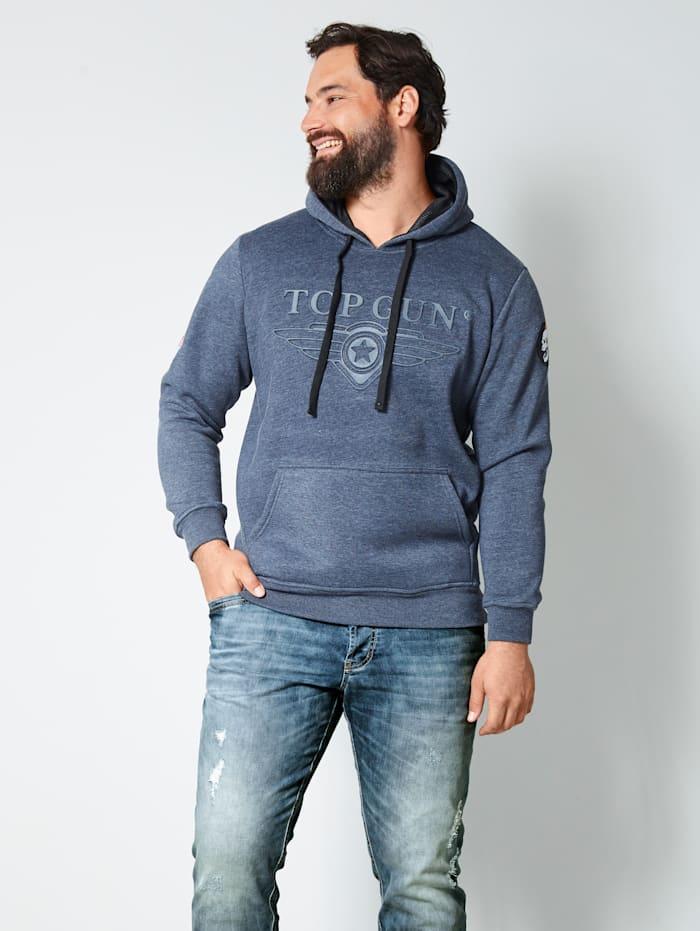 Top Gun Kapuzensweatshirt mit Logo- Prägung, Marineblau